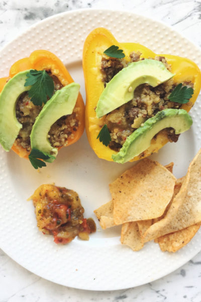 Quinoa and Ground Beef Stuffed Bell Peppers