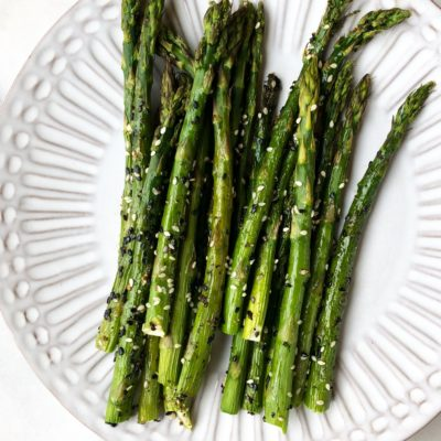 Black and White Sesame Seed Crusted Roasted Asparagus