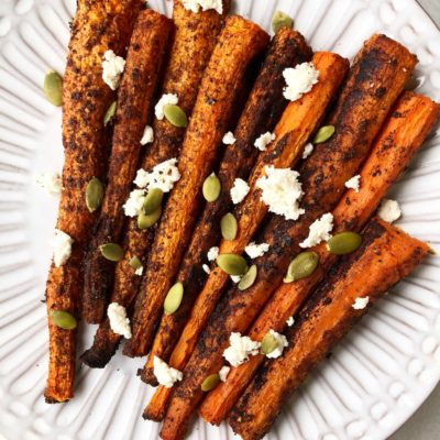 Garam Masala Roasted Carrot with Ricotta + Pumpkin Seeds