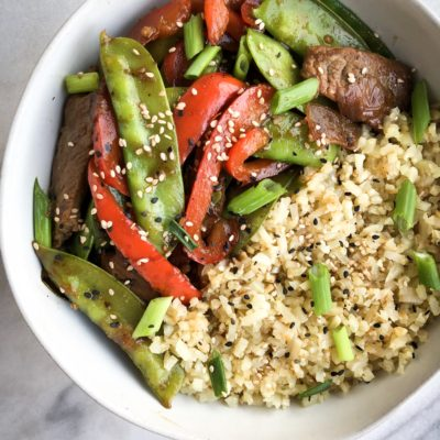 15 Minute Steak and Snow Pea Stir-Fry (Paleo, Whole-30, Low-Carb)