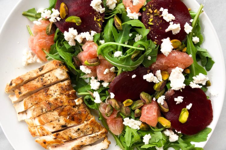 Grapefruit + Beet Arugula Salad with Pistachios and a Super Simple Dressing